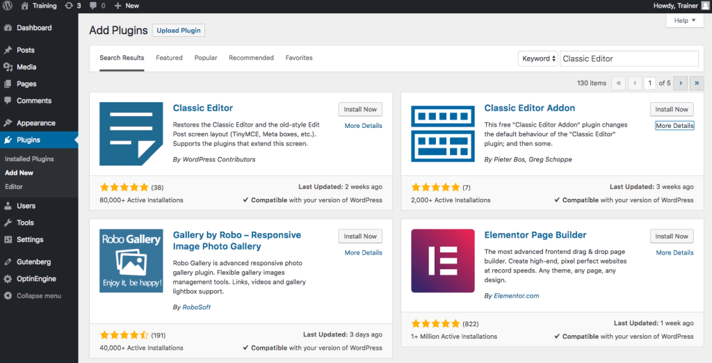 Screenshot of WordPress Classic Editor plugin and other plugins available.