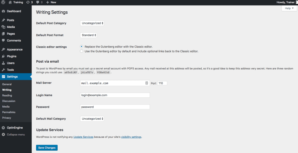 Screenshot of the Writing Settings page on the WordPress Dashboard