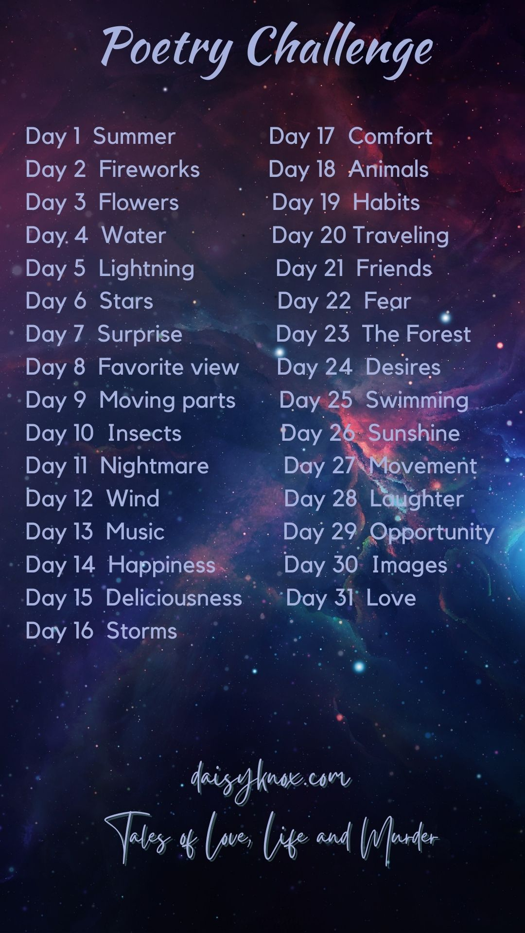 My 31 Poetry Challenge from Daisy Knox