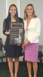 MY NIECE EMILY GETTING AN AWARD FROM ONE OF HER PROFESSORS AT SLIPPERY ROCK UNIVERSITY.