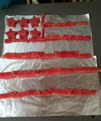 MY NEPHEW, MADE AN AMERICAN FLAG OUT OF WATERMELON.