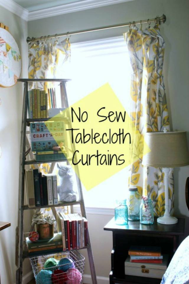 No Sew Tablecloth Curtains  daisymaebelle  daisymaebelle
