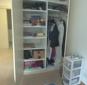 A look inside one of the wardrobes.