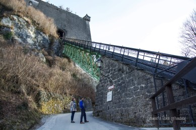 Part of the cable car track that takes you straight to the fortress