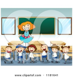 classroom teacher happy clipart cartoon learning vector royalty classmates rf graphics am colematt kind journey without theories illustrations