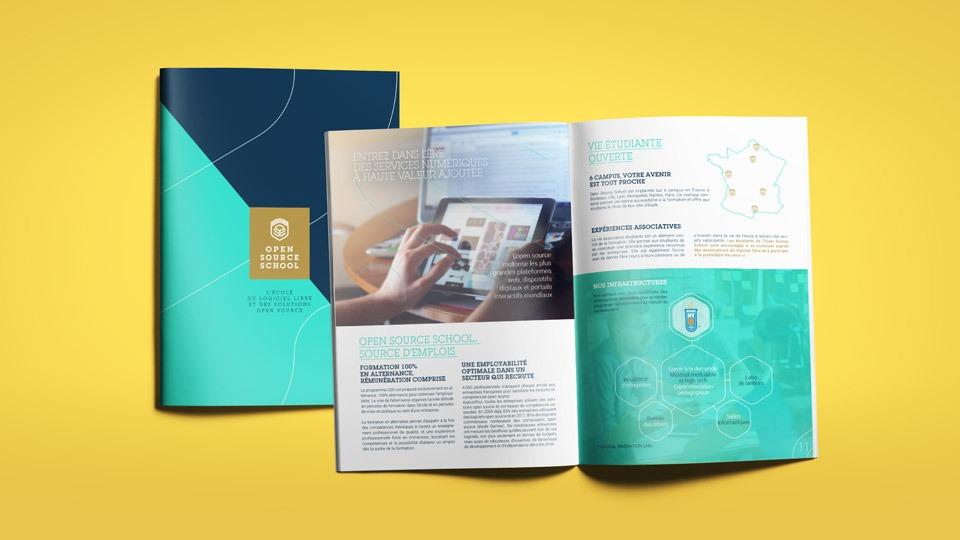 Brochure réalisée pour OSS Open Source School par Dajm communication RH marque employeur