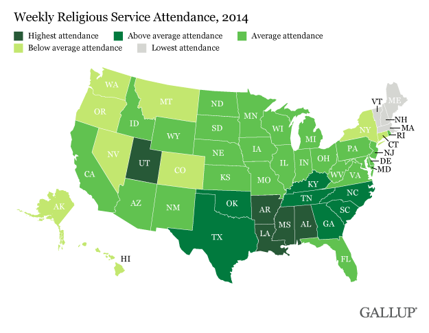 Church Attendance by State—Gallup 2014