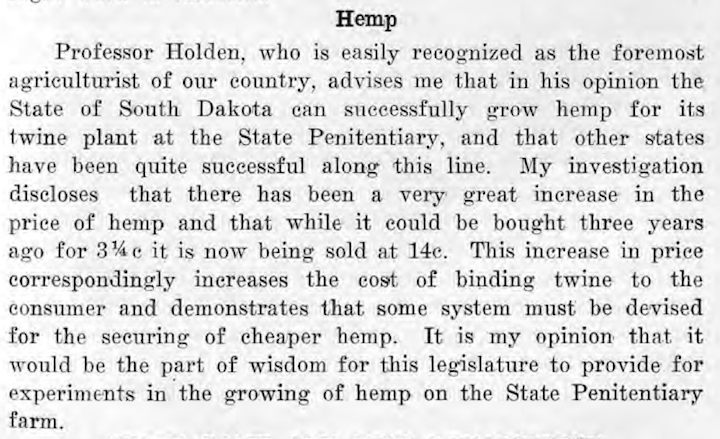 Gov. Peter Norbeck, comment on hemp, Inaugural Address, Pierre, South Dakota, January 2, 1917.
