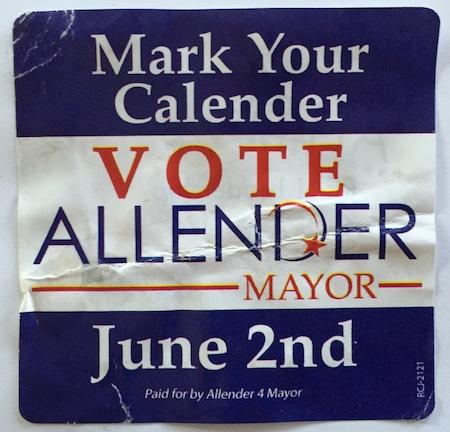Mark Your [Calendar] Vote Allender—RCJ sticker, 2015.04.05