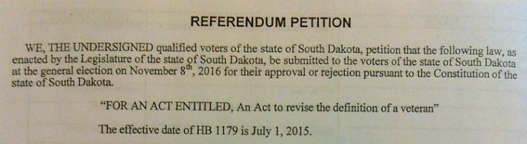 Referendum petition, header, House Bill 1179