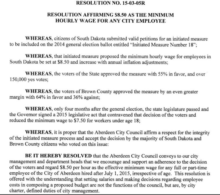 Aberdeen City resolution affirming the ballot initiative, repudiating SB 177's attack thereupon, and  supporting the same minimum wage for all city workers, regardless of age.