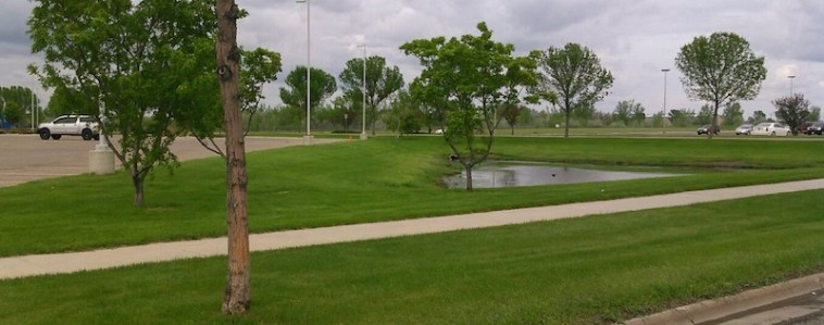Retention pond, Sanford hospital parking lot, Aberdeen, SD, 2015.05.25