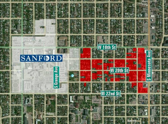 Property purchased by Sanford health over last decade in Sioux Falls. Map by KELO-TV.