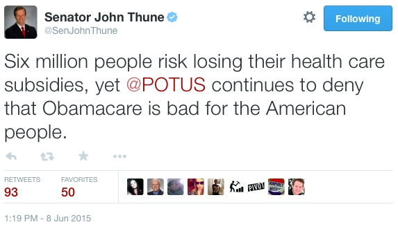 Senator John Thune, tweet, 2015.06.08