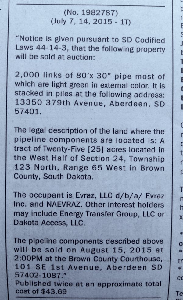 Announcement of auction of 2000 segments of oil pipeline, Aberdeen American News, 2015.07.14, p. 4D