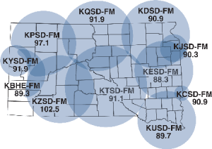 South Dakota Public Broadcasting FM radio frequencies across South Dakota