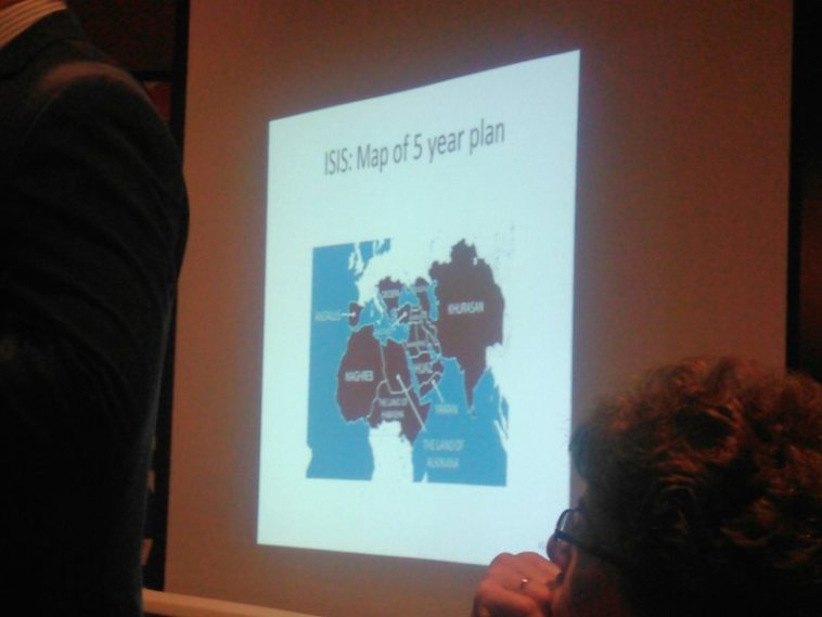 """ISIS: Map of 5 year plan""—slide in Jason Ravnsborg's presentation on Islam and ISIS, Aberdeen, South Dakota, 2015.07.09"