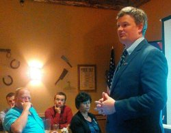Jason Ravnsborg speaks to Brown County Republicans, Aberdeen, SD, 2015.07.09.
