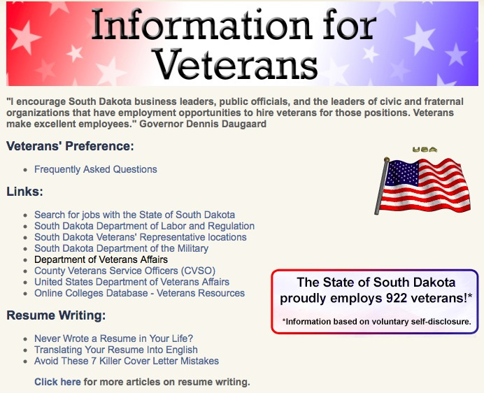 "Bureau of Human Resources, ""Information for Veterans,"" screen cap 2015.07.04"