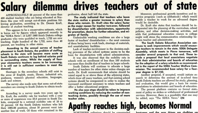 "CN, ""Salary Dilemma Drives Teachers out of State,"" NSC Exponent, 1968.11.15 (click to embiggen!)"