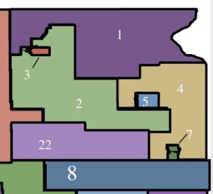 Gerrymandering example 1: District 2 splits strong Dem Brown County in two along an arbitrary diagonal, then snakes all the way southeast to grab some Hamlin County Republicans to protect Brock Greenfield's seat in the Legislature.