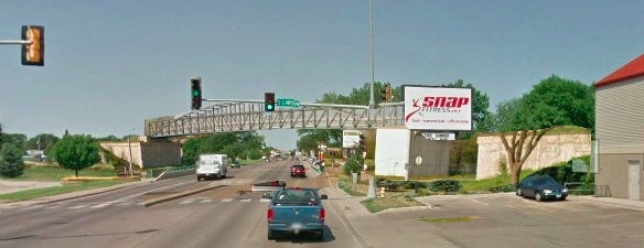 Rough sketch of a future Moccasin Creek bicycle overpass over Sixth Avenue SE, Aberdeen, South Dakota.