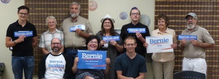 Folks supporting Bernie Sanders for President, Spearfish, South Dakota, 2015.07.29.