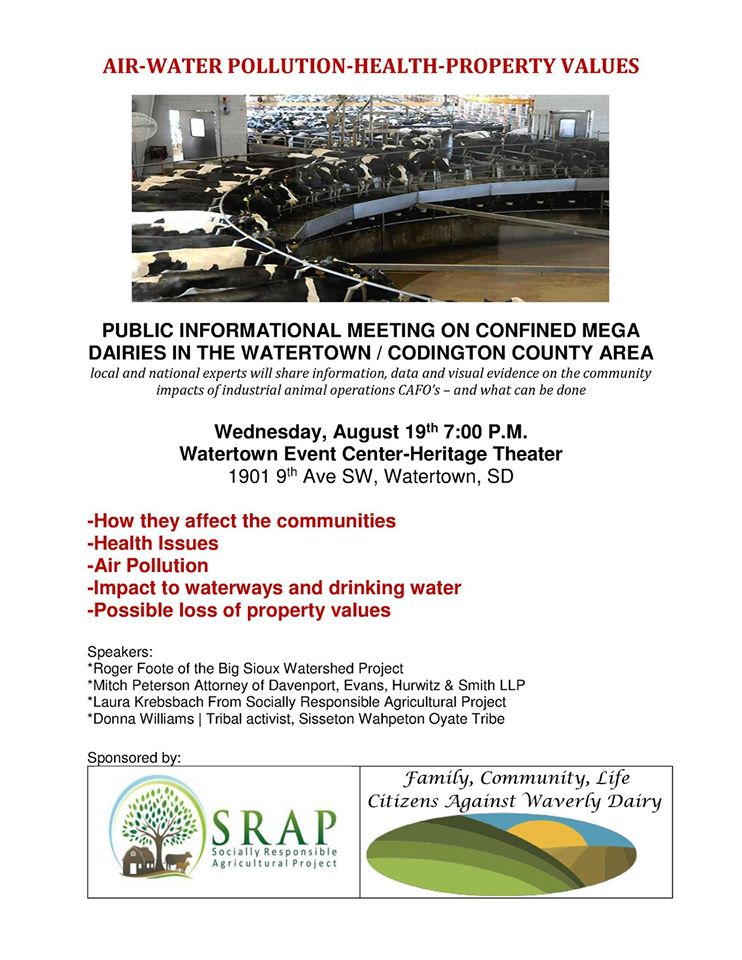Citizens Against Waverly Dairy, poster for info session on mega-dairies, Watertown, South Dakota, 2015.08.19