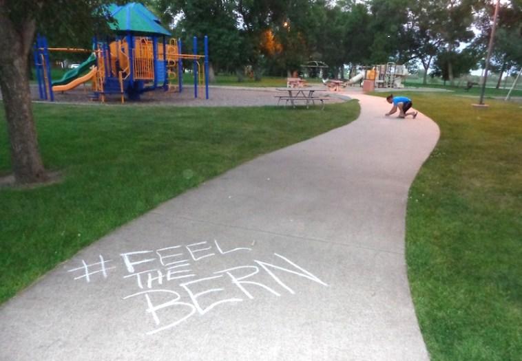 Chalk for Bernie Sanders in Aberdeen, South Dakota