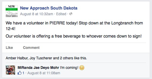 New Approach South Dakota, Facebook post, 2015.08.08, screen cap 2015.08.11.