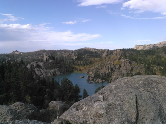 Sylvan Lake, viewed from the stone outcrop just east of the Lodge
