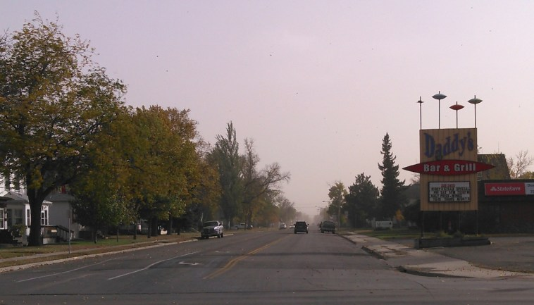 Dusty front obscures Main Street, Aberdeen, South Dakota, 2015.10.11.