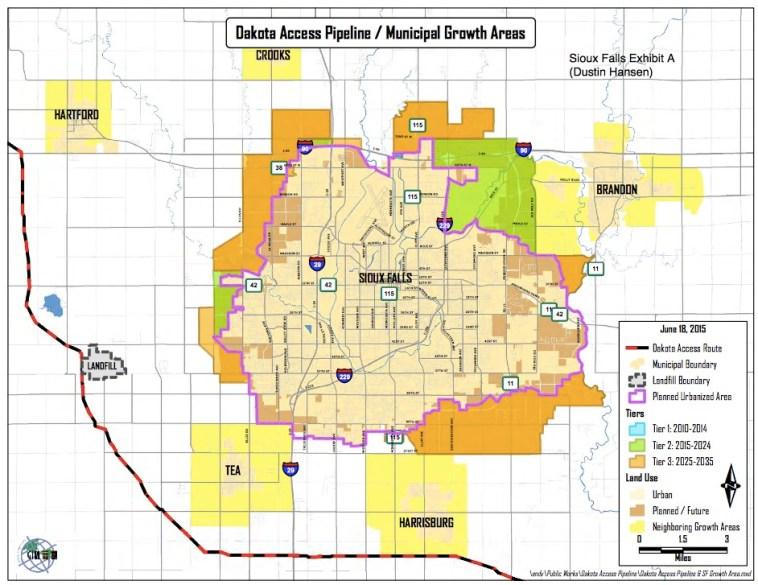 Dakota Access Pipeline Route near Sioux Falls