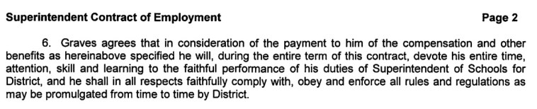 Mitchell School District superintendent's contract, Clause 6, issued 2015.06.09.