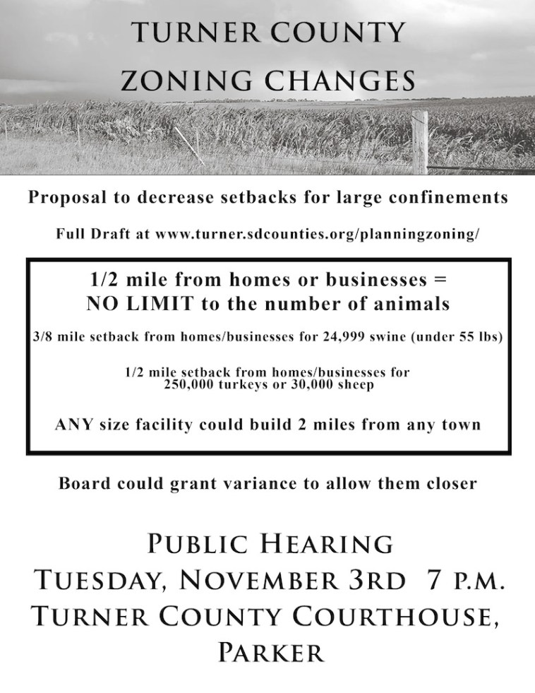 Turner County zoning hearing flyer, circulated October 2015