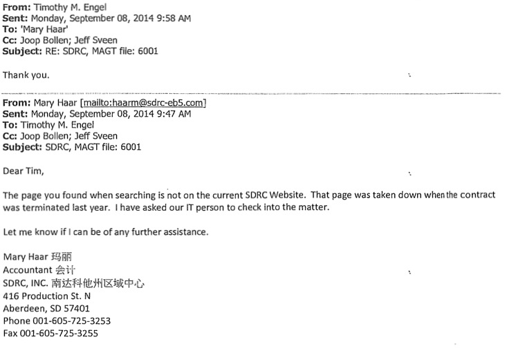 SDRC Inc. Mary Haar to GOED attorney Tim Engel, 2014.09.08