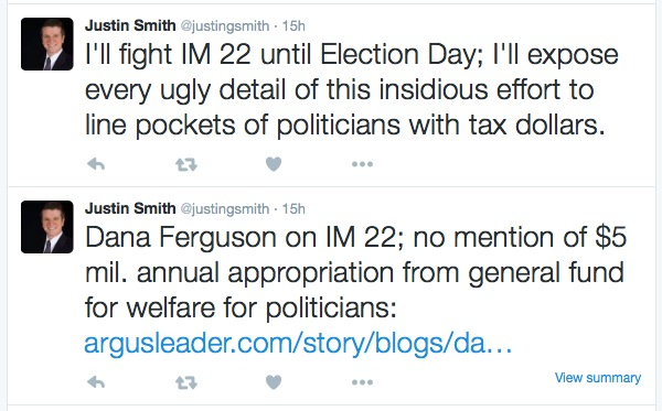 Justin Smith against IM22 on Twitter