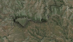 Here's the place Dithmer is talking about, south of Wanblee (satellite image from Google Maps)