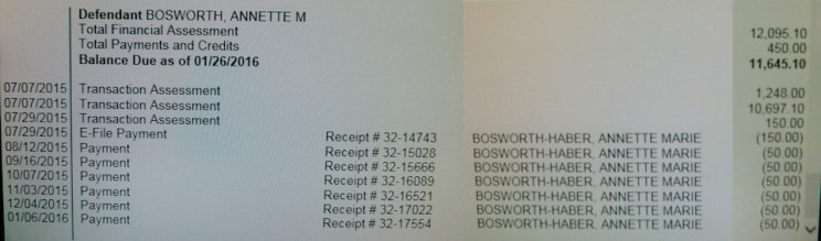 edited screen shots, court costs and fines, balance due from Annette Bosworth in Case #32CRI14-000305, as of 2016.01.26.