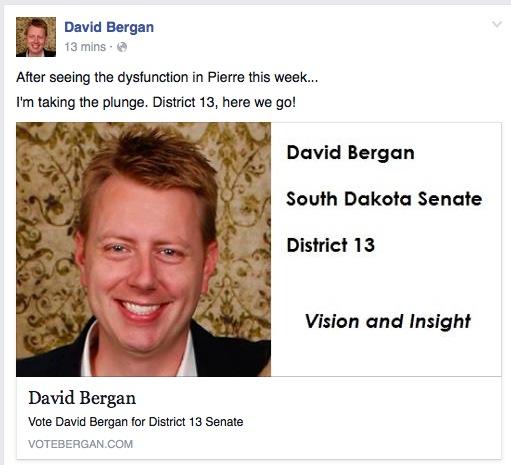 David Bergan announces District 13 Senate candidacy, Facebook post, 2016.02.19