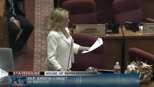 Rep. Kristen Conzet (R-32/Rapid City, floor debate on SB 171, SD House, 2016.03.08. Screen cap from SDPB.