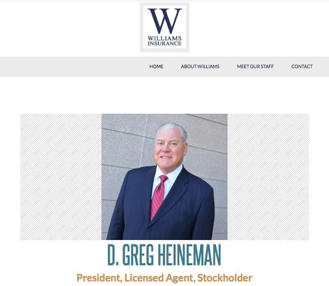 D. Greg Heineman, president and owner, Williams Insurance. Screen cap, williams-inc.com, 2016.03.02.