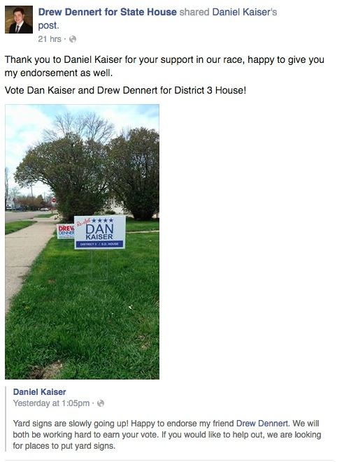 Dennert for House, Facebook post, 2016.04.24
