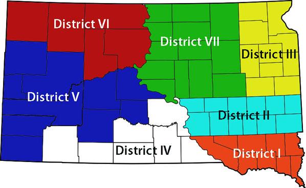 South Dakota Farmers Union districts