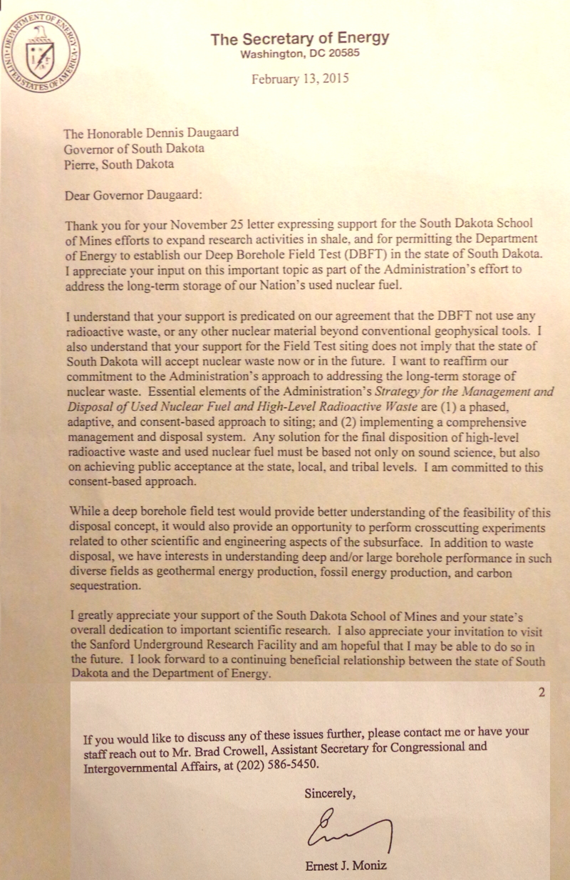 South dakota spink county doland - Energy Sec Ernest Moniz Letter To Gov Dennis Daugaard 2015 02 13 Two Pages Pasted To One Iage By Cah