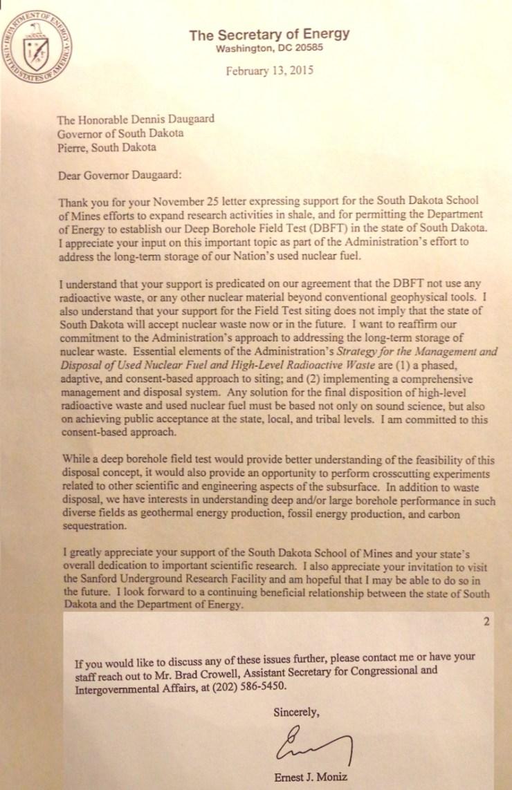 Energy Sec. Ernest Moniz, letter to Gov. Dennis Daugaard, 2015.02.13.