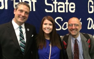 Congressman Tim Ryan [D-Ohio-17] with South Dakota State Legislative candidates Nikki Bootz and Cory Heidelberger, Democrats from Aberdeen, SD.