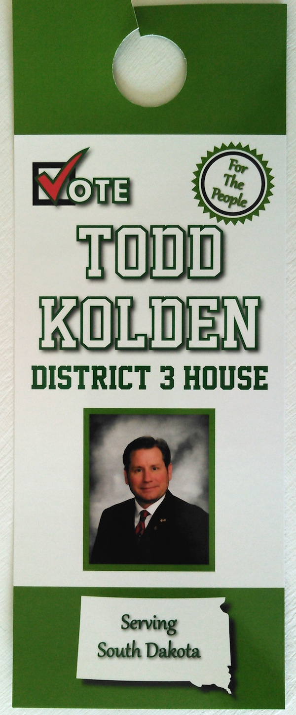 Todd Kolden door hanger, May 2016, front