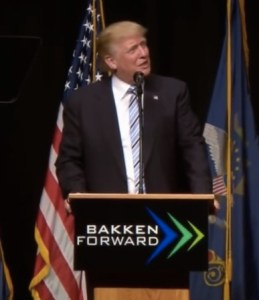 Donald Trump makes stuff up in Bismarck, ND, 2016.05.26 (screen cap from ABC News).