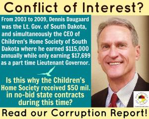 Daugaard conflict of interest graphic from Lakota People's Law Project, May 2015